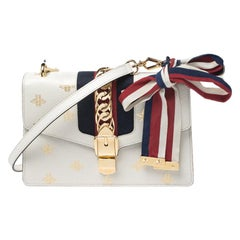 Gucci White Bee Star Print Leather Small Sylvie Shoulder Bag