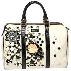 Gucci White/Black GG Supreme Canvas and Leather Medium Joy Applique Boston Bag