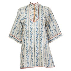 GUCCI white & blue cotton 3/4 Sleeve PORCELAIN MINI Dress 40