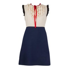 GUCCI white & blue silk Sleeveless RUFFLE TRIMMED MINI Dress 40