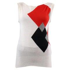 GUCCI white cashmere ARGYLE BOATNECK Sleeveless Sweater M