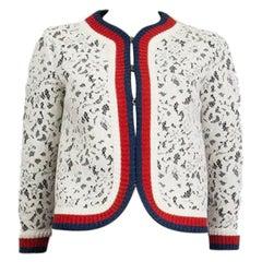 GUCCI white cotton & viscose LACE WEB CROPPED 3/4 Sleeve Jacket XS