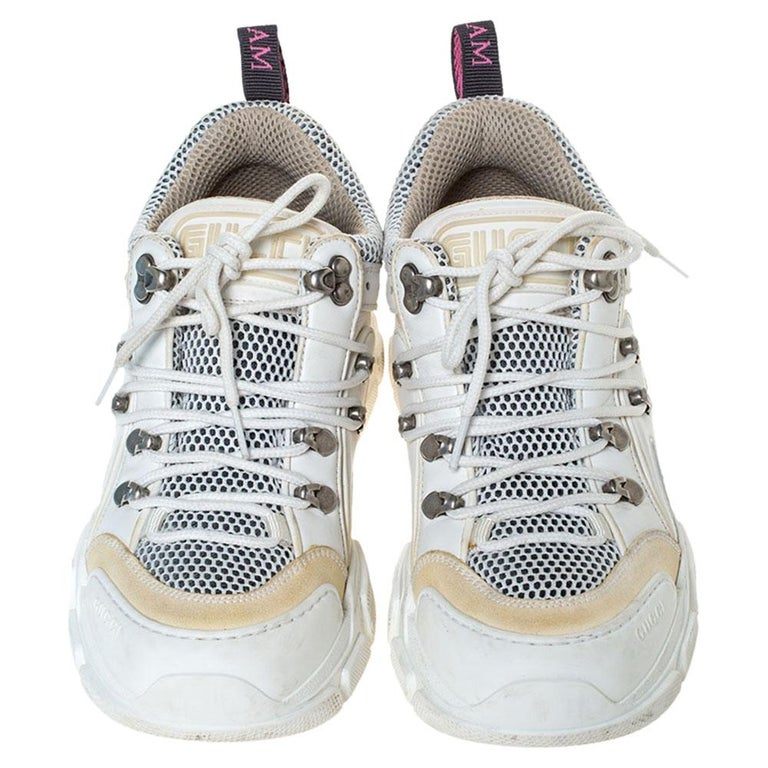 Gucci White/Cream Mesh and Leather Flashtrek Sneakers Size 37 For Sale 1