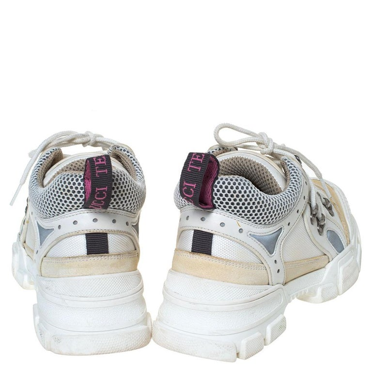Gucci White/Cream Mesh and Leather Flashtrek Sneakers Size 37 For Sale 2