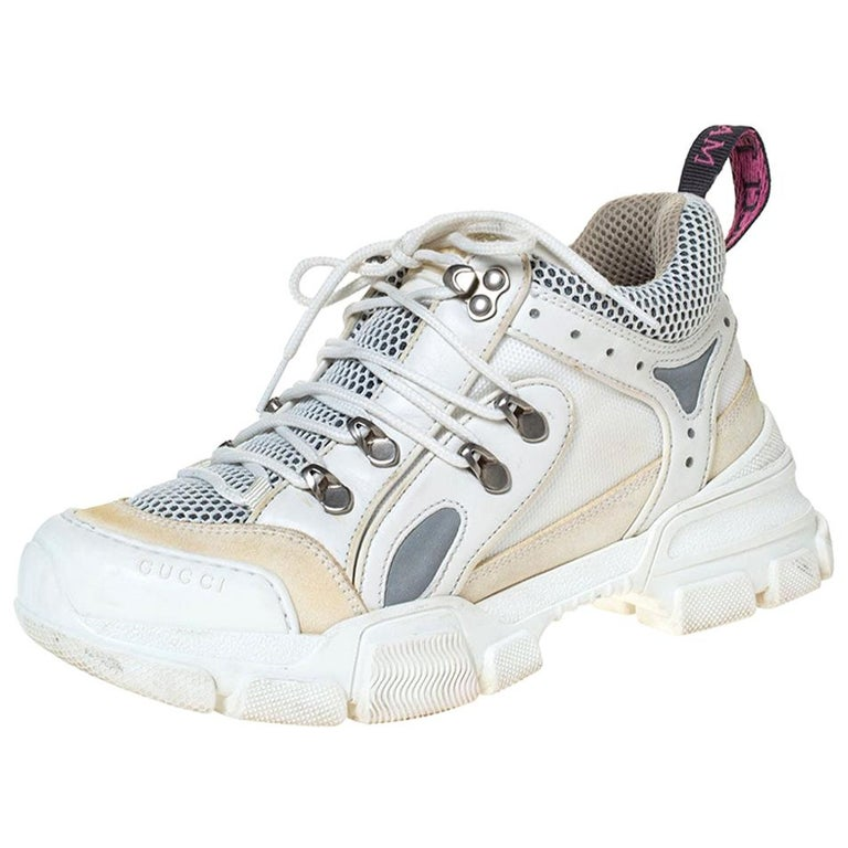 Gucci White/Cream Mesh and Leather Flashtrek Sneakers Size 37 For Sale