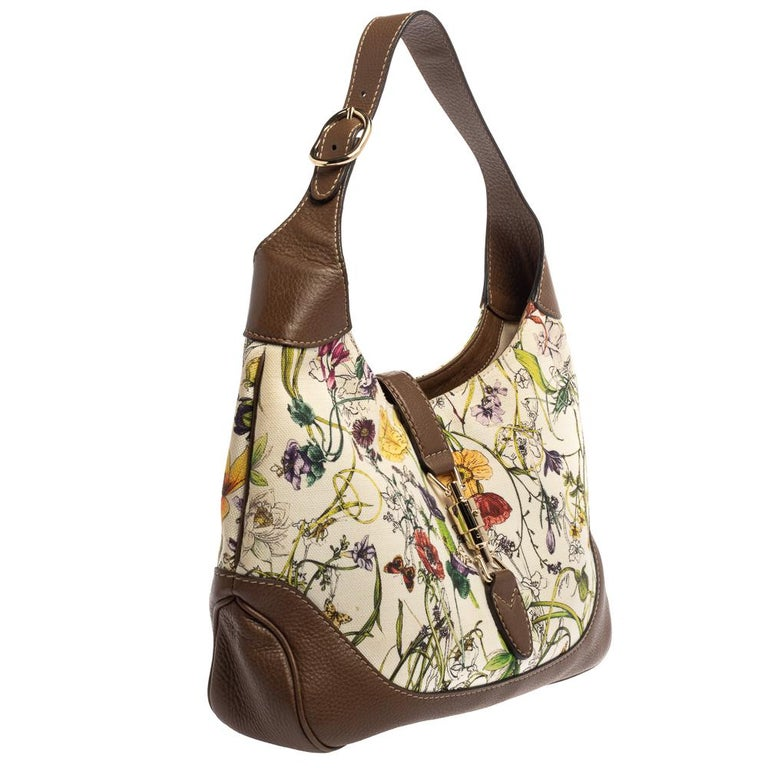 Women's Gucci White Flora Canvas and Leather Medium Jackie O Hobo For Sale