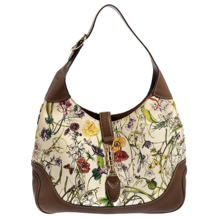 Gucci White Flora Canvas and Leather Medium Jackie O Hobo For Sale