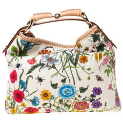 Gucci White Flora Canvas and Leather Small Horsebit Hobo