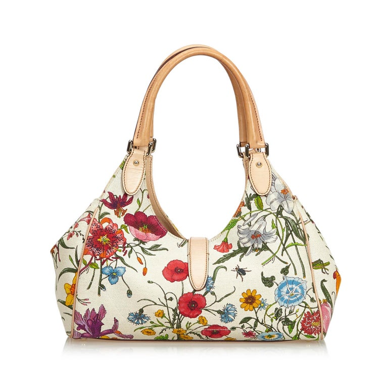 Gucci White Flora Jackie Shoulder Bag In Good Condition In Orlando, FL