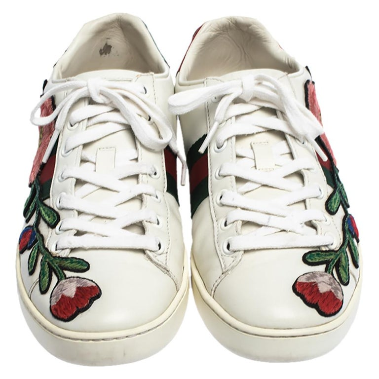 Gray Gucci White Floral Embroidered Leather Ace Low Top Sneakers Size 37