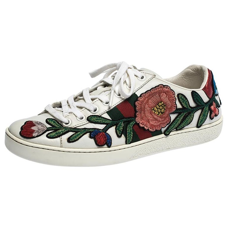 Gucci White Floral Embroidered Leather Ace Low Top Sneakers Size 37
