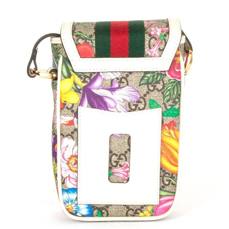 White GUCCI white FLORAL GG SUPREME OPHIDIA MINI PHONE Bag For Sale