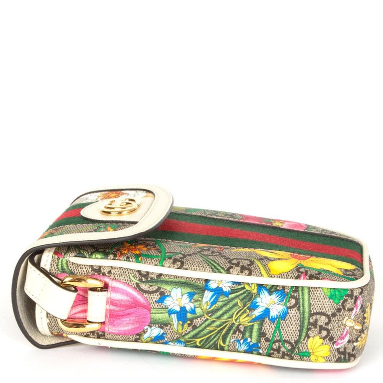 GUCCI white FLORAL GG SUPREME OPHIDIA MINI PHONE Bag In Excellent Condition For Sale In Zürich, CH