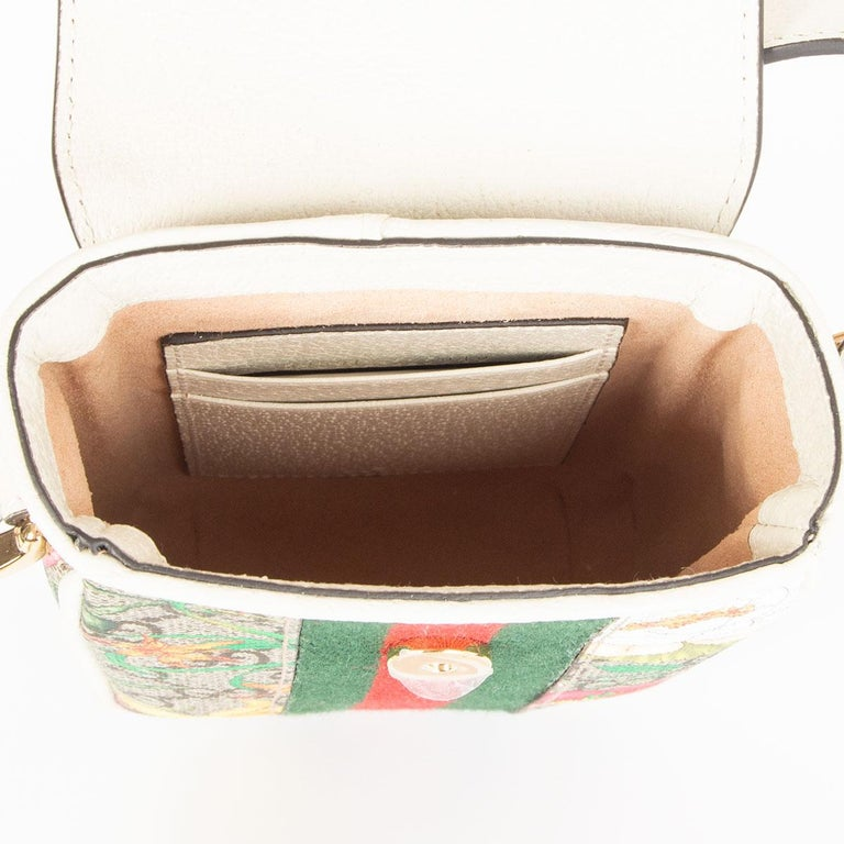 Women's GUCCI white FLORAL GG SUPREME OPHIDIA MINI PHONE Bag For Sale