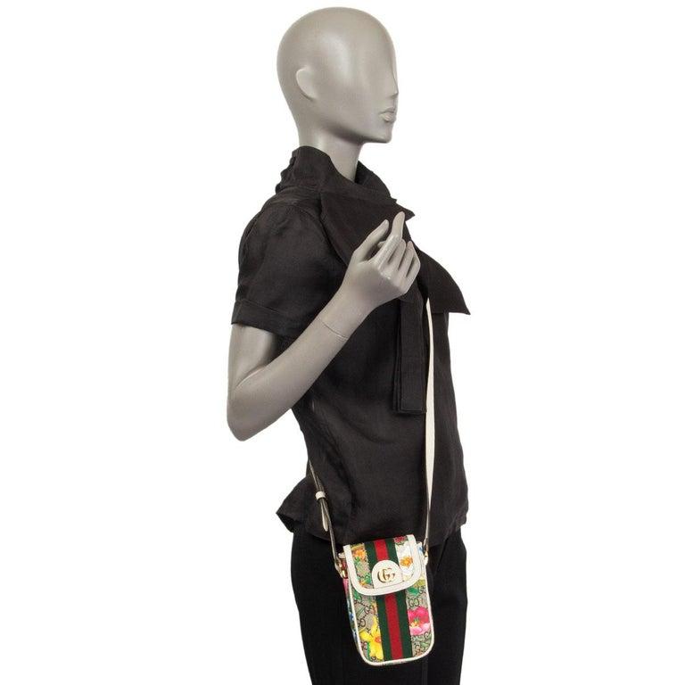 GUCCI white FLORAL GG SUPREME OPHIDIA MINI PHONE Bag For Sale 3