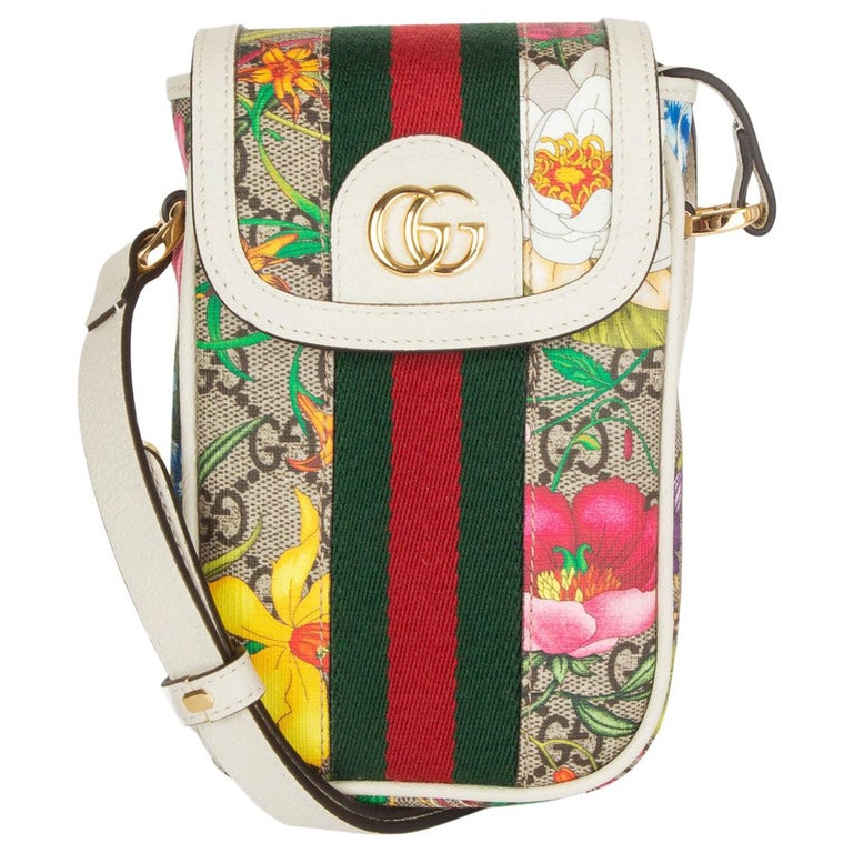 GUCCI white FLORAL GG SUPREME OPHIDIA MINI PHONE Bag For Sale