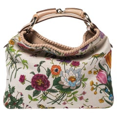 Gucci White Floral Print Canvas and Leather Small Horsebit Hobo