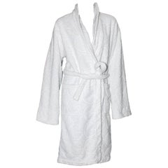 Gucci White GG Logo Terrycloth Terry Towel Bath Robe Morning Coat