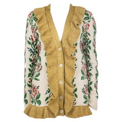 GUCCI white & gold INTARSIA JACQUARD FLOWER KNIT Cardigan Sweater S