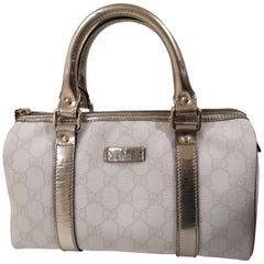 Gucci white gold leather hardware speedy case bag