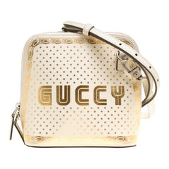 Gucci White/Gold Leather Mini Guccy Shoulder Bag
