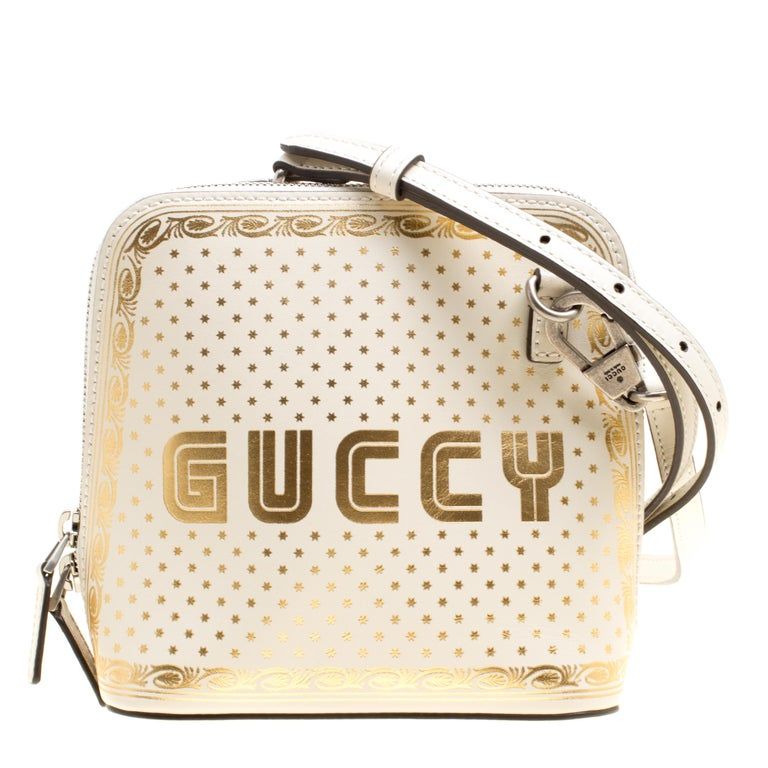 ffb0a8fd18 Gucci White/Gold Leather Mini Guccy Shoulder Bag For Sale at 1stdibs
