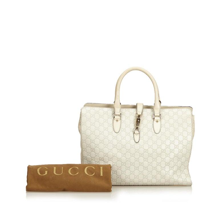 Gucci White Guccissima Leather Jackie Tote 6