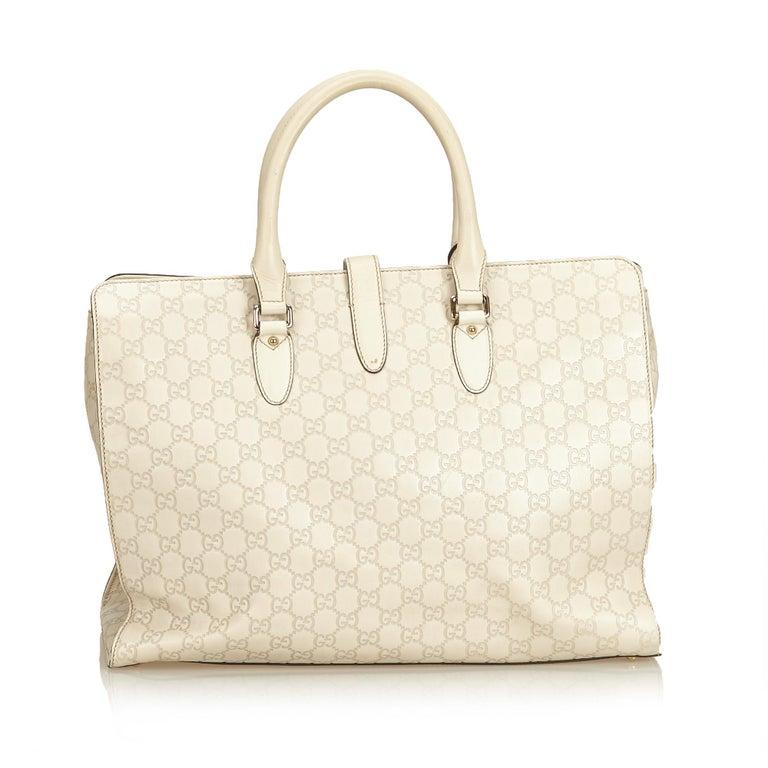 Gucci White Guccissima Leather Jackie Tote In Good Condition In Orlando, FL