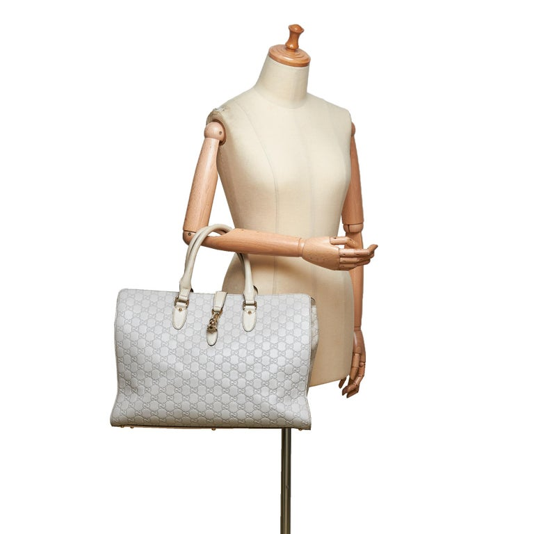 Gucci White Guccissima Leather Jackie Tote 5