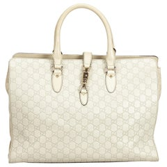 Gucci White Guccissima Leather Jackie Tote