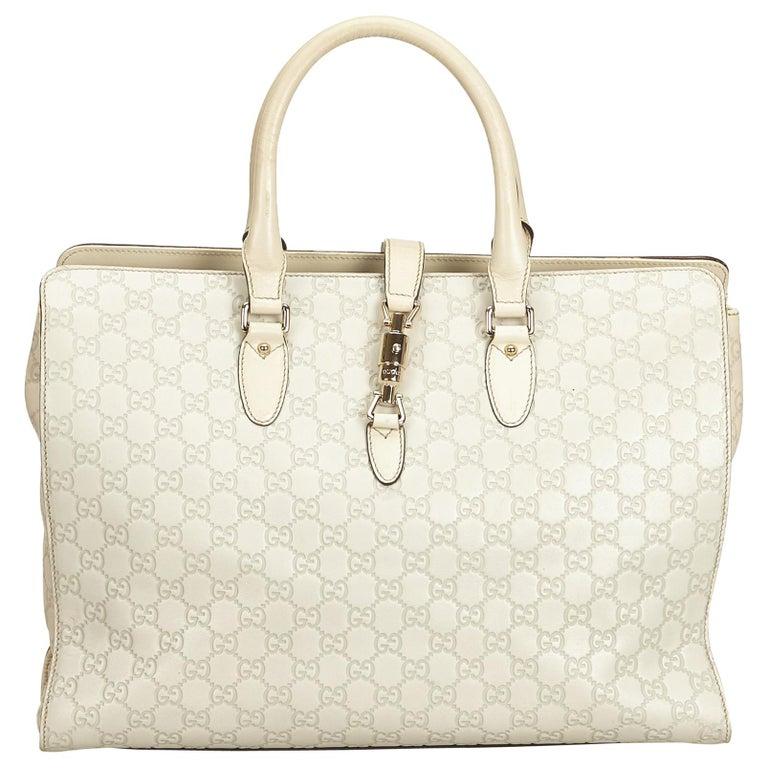 Gucci White Guccissima Leather Jackie Tote