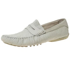 Gucci White Guccissima Leather Penny Loafers Size 42.5