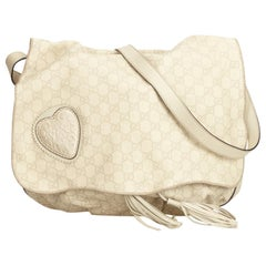 Gucci White Guccissima Leather Tribeca Messenger Bag