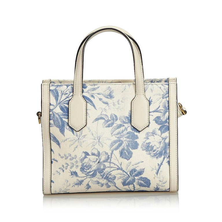 Gucci White Ivory Canvas Fabric Herbarium Satchel Italy In Good Condition For Sale In Orlando, FL