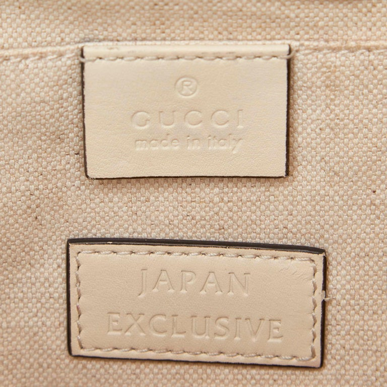 Gucci White Ivory Canvas Fabric Herbarium Satchel Italy For Sale 3