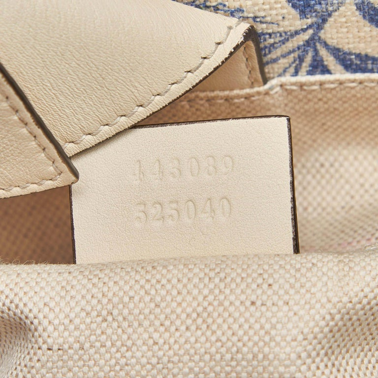 Gucci White Ivory Canvas Fabric Herbarium Satchel Italy For Sale 4