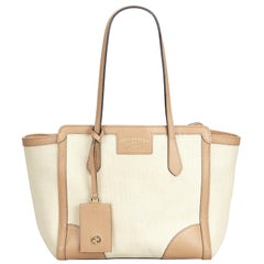 Gucci White Ivory Canvas Fabric Swing Tote Bag Italy