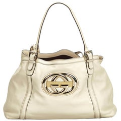Gucci White Ivory Leather Britt Tote Bag Italy