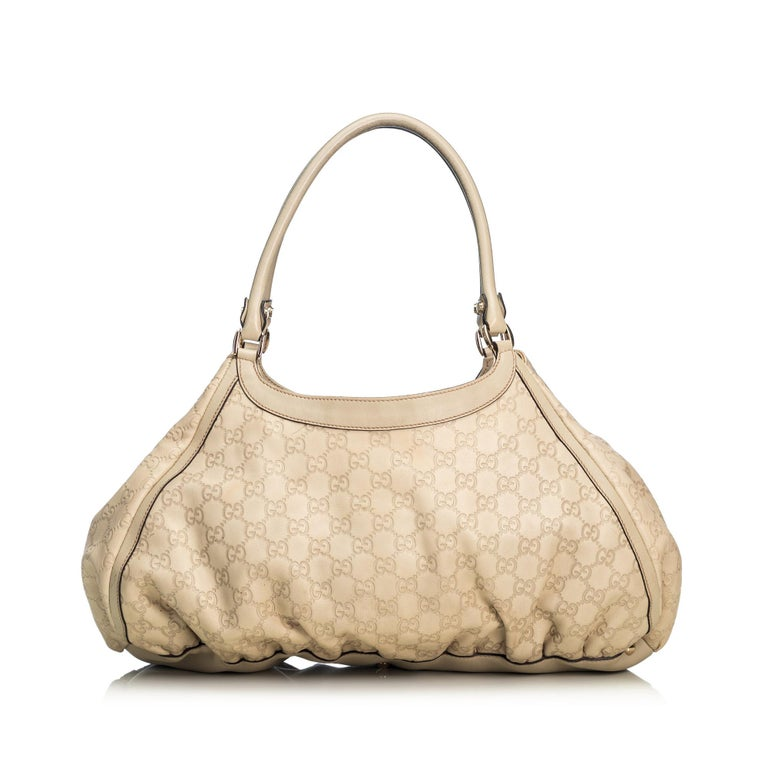 Gucci White Ivory Leather Guccissima Abbey D-Ring Shoulder Bag Italy In Good Condition In Orlando, FL