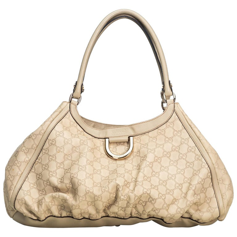 Gucci White Ivory Leather Guccissima Abbey D-Ring Shoulder Bag Italy
