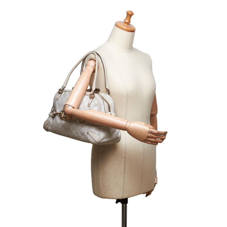 Gucci White Ivory Leather Guccissima Wave Handbag Italy For Sale 6