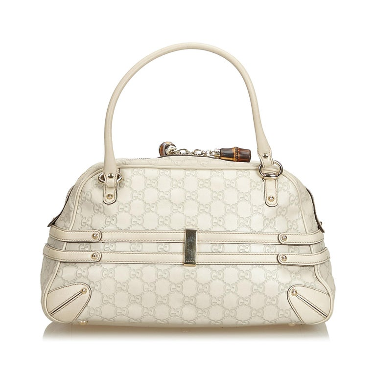 Gucci White Ivory Leather Guccissima Wave Handbag Italy In Good Condition For Sale In Orlando, FL
