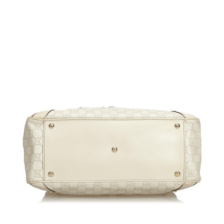 Women's Gucci White Ivory Leather Guccissima Wave Handbag Italy For Sale