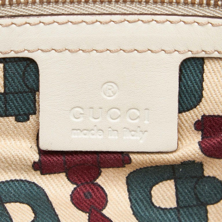 Gucci White Ivory Leather Guccissima Wave Handbag Italy For Sale 2