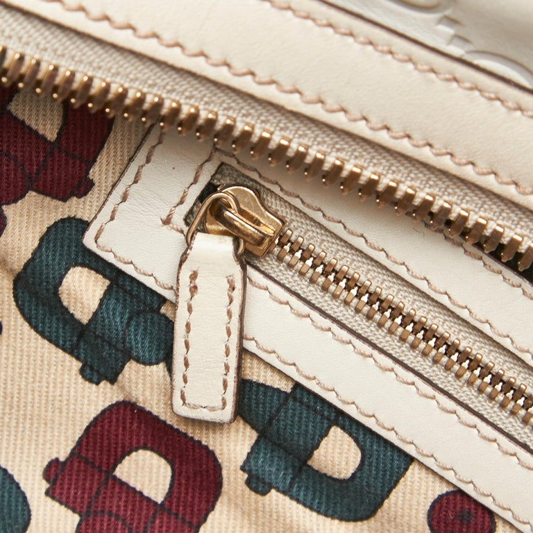 Gucci White Ivory Leather Guccissima Wave Handbag Italy For Sale 4