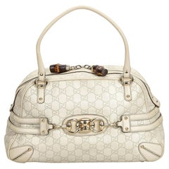Gucci White Ivory Leather Guccissima Wave Handbag Italy