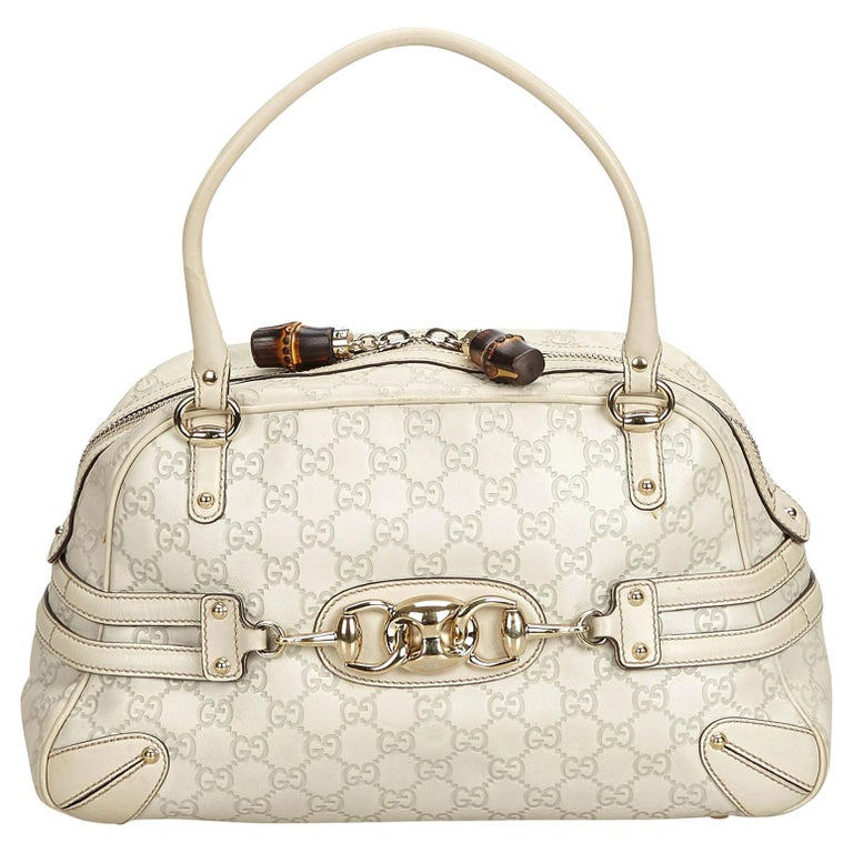 987383aa6f69 Gucci White Ivory Leather Guccissima Wave Handbag Italy at 1stdibs