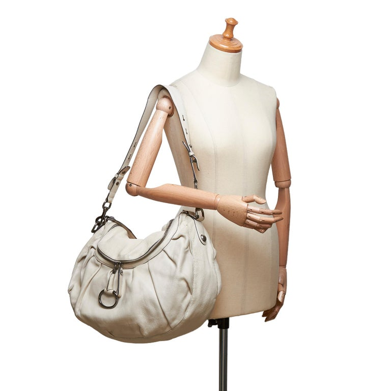 Gucci White Ivory Leather Icon Bit Satchel Italy For Sale 9