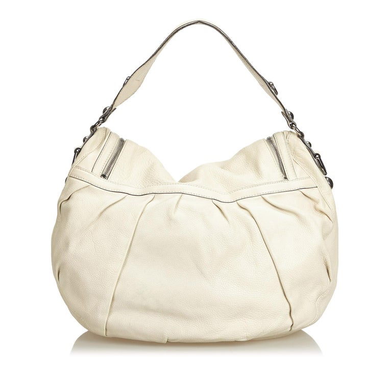 Gucci White Ivory Leather Icon Bit Satchel Italy In Good Condition For Sale In Orlando, FL