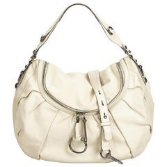 Gucci White Ivory Leather Icon Bit Satchel Italy